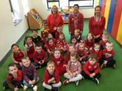 The children in Nursery wear red for Anti Bullying Week.